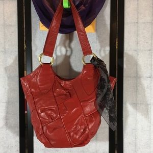 Coldwater Creek red leather bucket bag